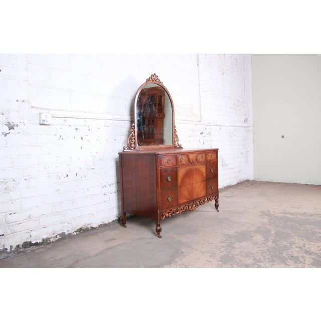 English Early Herman Miller Carved Walnut and Burl Wood Five-Drawer Dresser With Mirror, Circa 1920s For Sale - Image 3 of 13