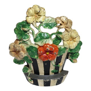 1920s Hubley Cast Iron Flower Doorstop For Sale