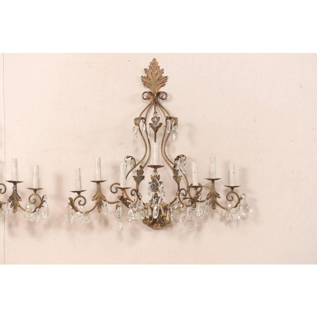 Mid 20th Century Pair of Mid-Century Seven-Light Crystal and Iron Sconces With Leaf Crest Tops For Sale - Image 5 of 11