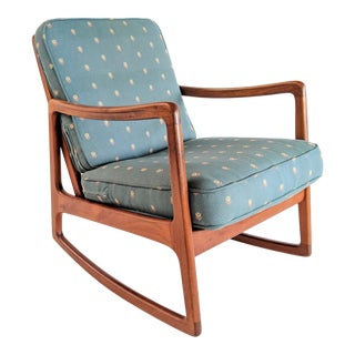 1960s Danish Modern Ole Wanscher for France and Son Teak Rocking Chair For Sale