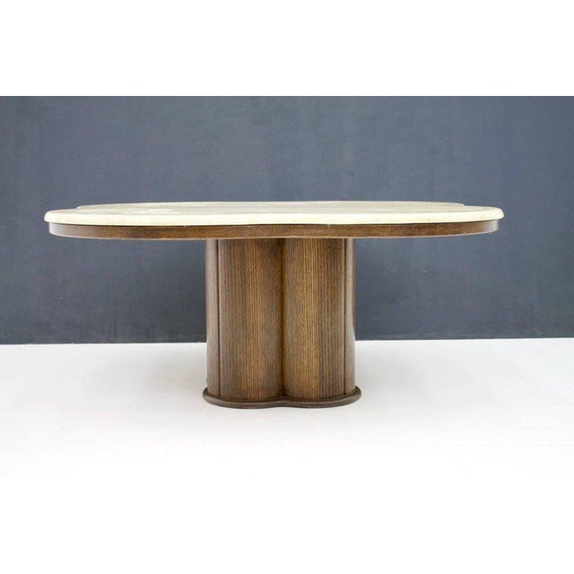 1970s Travertine Cloud Coffee Table With Wood Base, 1970s For Sale - Image 5 of 10