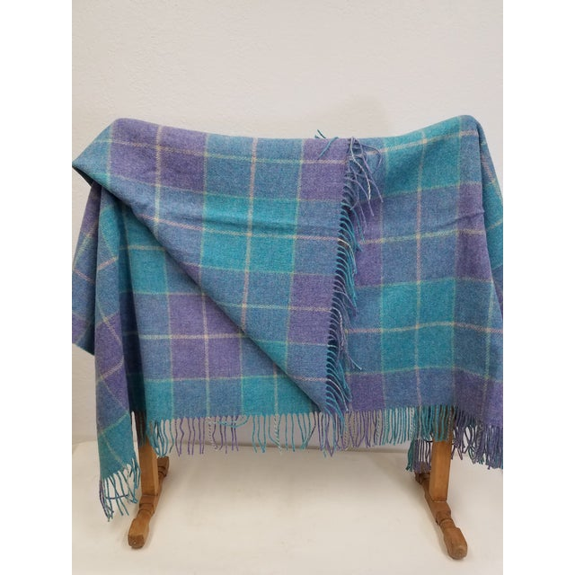 2020s Wool Throw Aqua Blue, Yellow and Purple Stripes and Squares - Made in England For Sale - Image 5 of 6