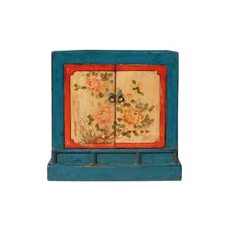 Chinese Bright Blue Orange Flower Table Cabinet