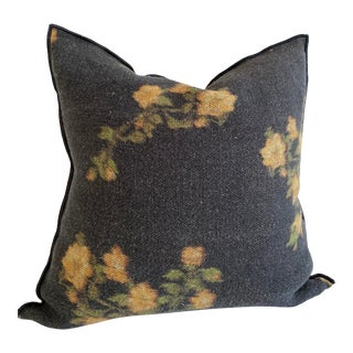 European Linen Roses Accent Pillow With Down Insert For Sale