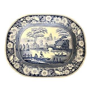 1900s Antique Ironstone Blue and White Serving Platter For Sale