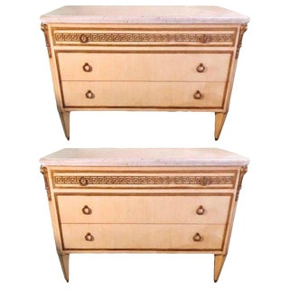Pair of Hollywood Regency Faux Linen Greek Key Design White Marble-Top Commodes For Sale