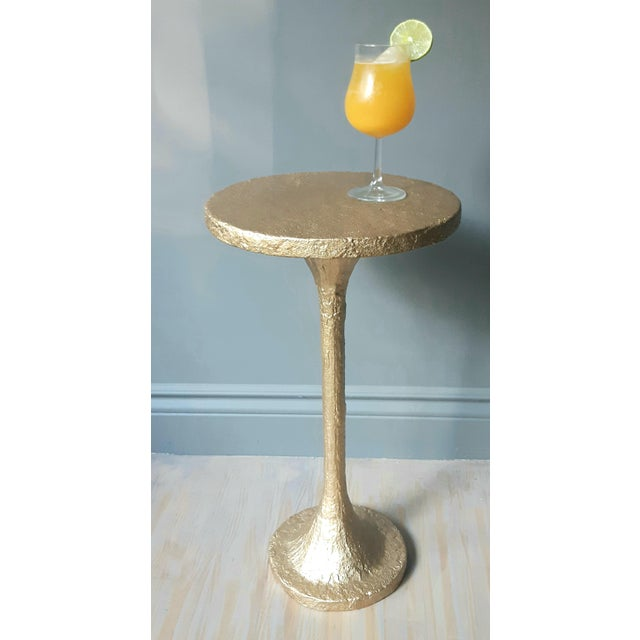 Contemporary Modern Artisan Small Accent Table Gold For Sale - Image 3 of 5
