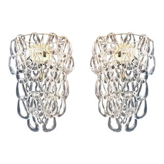 Italian Clear Glass Chain Link Sconces by Angelo Mangiarotti for Vistosi C1970 For Sale