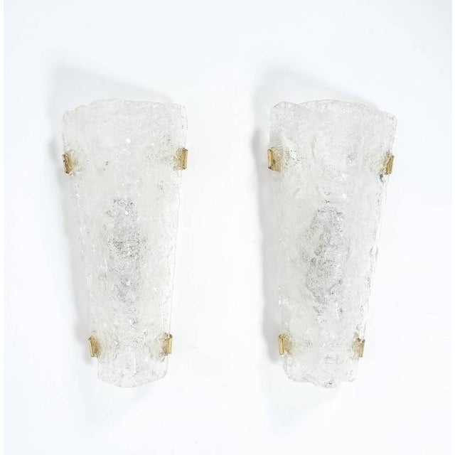 1970s Set of 3 Hillebrand Ice Glass and Brass Sconces, circa 1970 For Sale - Image 5 of 7