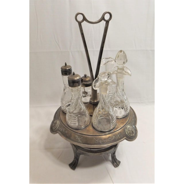 Very rare and collectible Cruet Set by Manhattan Plate [Silver Plate] Co, of NY, NY. c. 1857-1872. The set is not perfect...