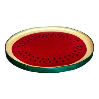 Vintage Hand Painted Watermelon Tray For Sale