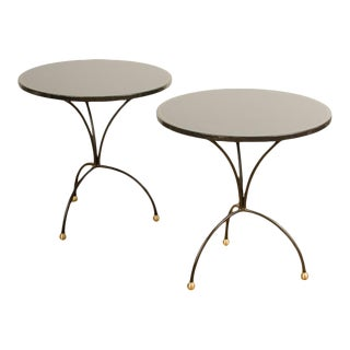 Contemporary Poured Resin Black Tables - a Pair For Sale