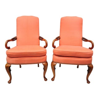 Queen Anne Shaker Heights Chalfont Office / Living Room Cherry Arm Chairs - a Pair For Sale
