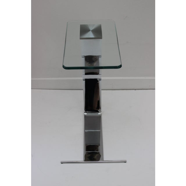 Metal Side Table Satin Steel Polished Steel Glass in Style of Dia For Sale - Image 7 of 13