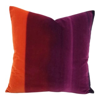 "Harlequin Amazilia Velvets in Papaya, Raspberry, and Loganberry Pillow Cover - 20"" X 20"" For Sale"