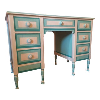 Antique 'Hues of Blues' Wooden Painted 5 Drawer Partners Desk For Sale