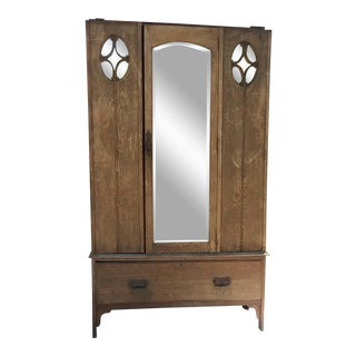 Antique Early 1900s Rustic Mirrored Wardrobe For Sale