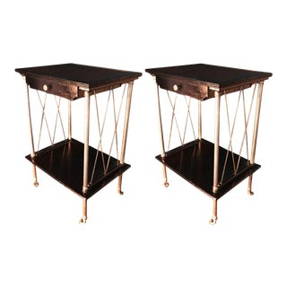 Maison Jansen Pair of Neo Classic Side Tables or Bedsides on Rolls For Sale