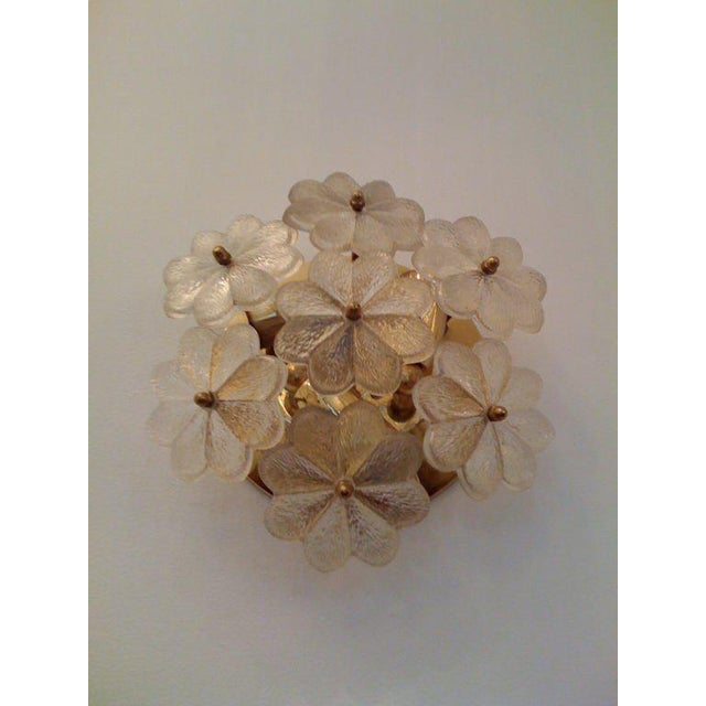 A nice small Austrian glass floral ceiling/wall light with brass fittings. Made in the 1950s.