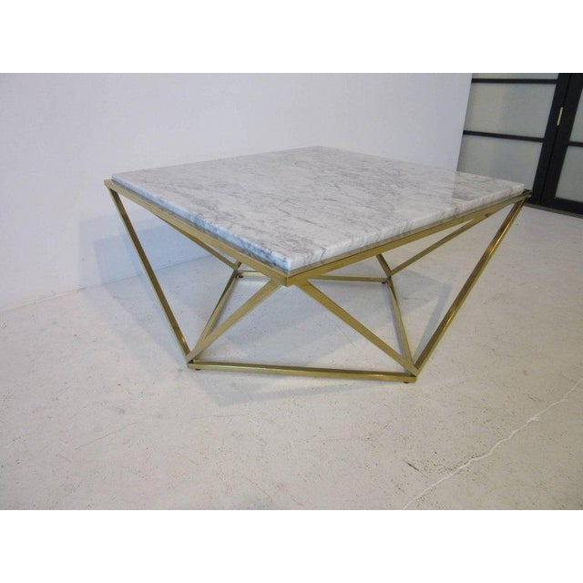 Brass and Italian Marble Coffee Table For Sale In Cincinnati - Image 6 of 6
