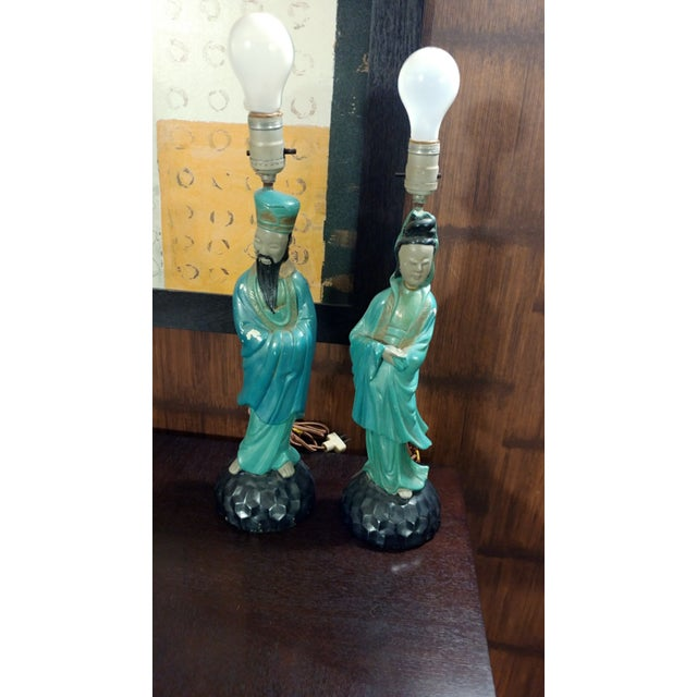 Asian Chalkware Style Lamps - Pair - Image 2 of 8
