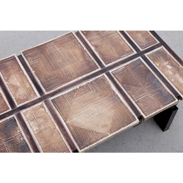 1950s Rare Signed Geometrical Ceramic Coffee Table by Roger Capron For Sale - Image 5 of 7