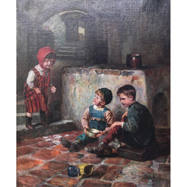 """Portraiture Oil on Canvas Painting """"The Broken Plate"""" by Joseph Jost, 1910 For Sale - Image 3 of 6"""