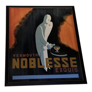 Art Deco Noblesse Vermouth Framed Poster For Sale