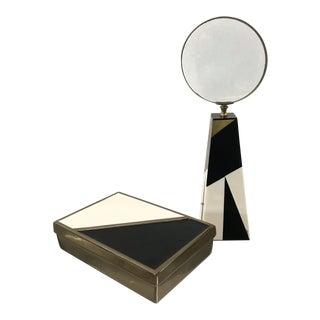 Vintage Brass, Enamel and Resin Desk Set For Sale