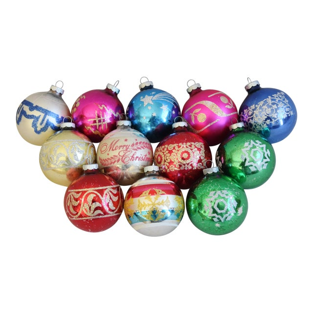 Vintage Colorful Christmas Ornaments W/Box - Set of 12 For Sale