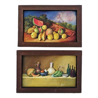 Antique American Framed Still Life Oil Paintings by Toguel - a Pair For Sale