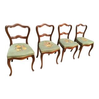 Late 19th Century Hand Carved Mahogany Balloon Back Victorian Parlor Chairs - Set of 4 For Sale