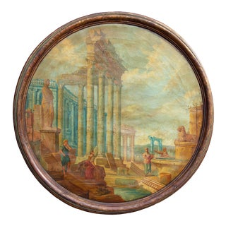Late 18th Century Italian Classical Roman Ruins Painting For Sale