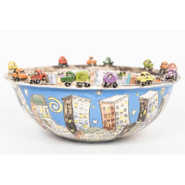 "Folk Art ""city Scape"" Ceramic Bowl For Sale - Image 3 of 5"