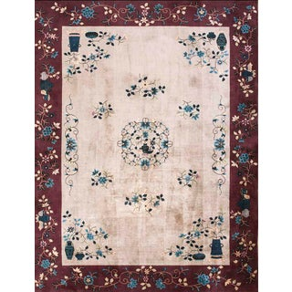 "1920s Antique Art Deco Chinese Rug-8'10"" X 11'6"" For Sale"