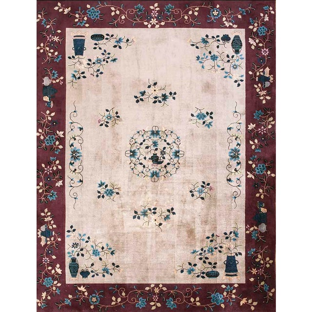 """1920s Antique Art Deco Chinese Rug-8'10"""" X 11'6"""" For Sale"""