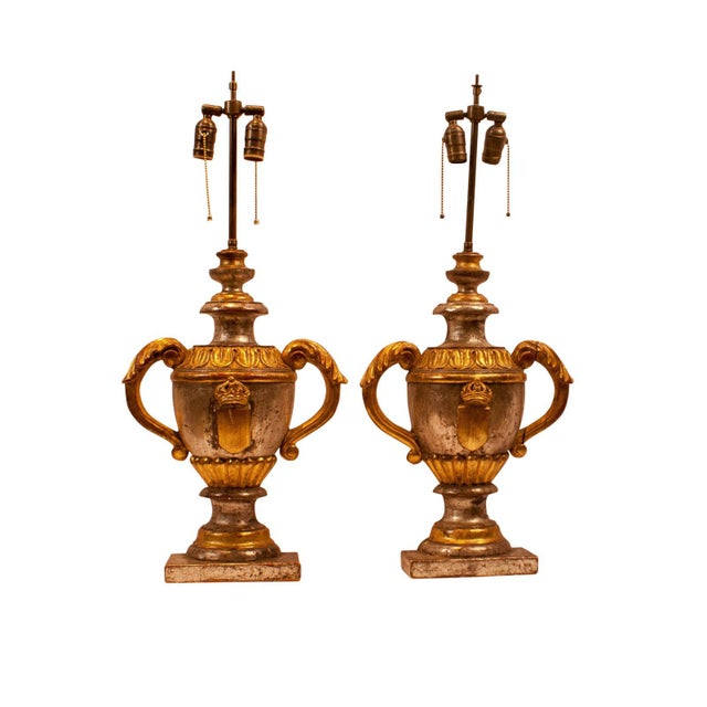 1870 Carved Wood Italian Gilt & Silver Urn Lamps - a Pair For Sale - Image 5 of 5