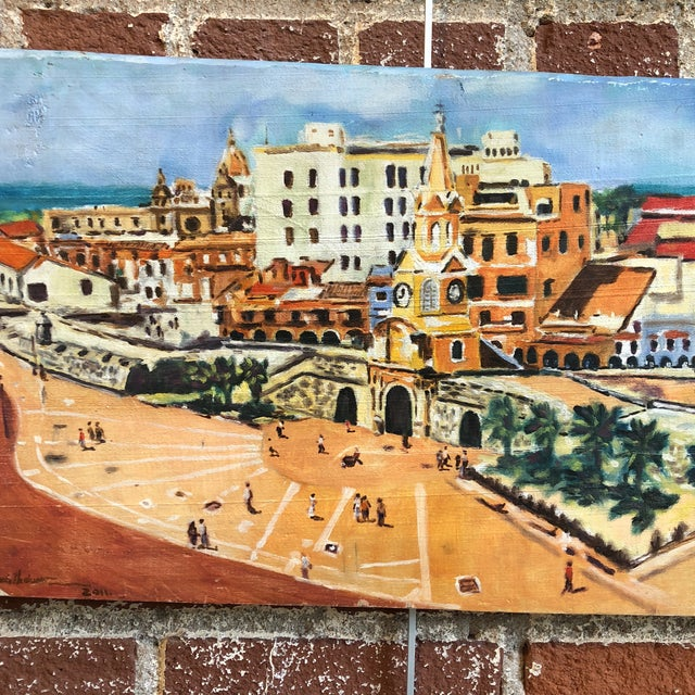 Coastal Cityscape Painting of Cartagena For Sale - Image 4 of 9