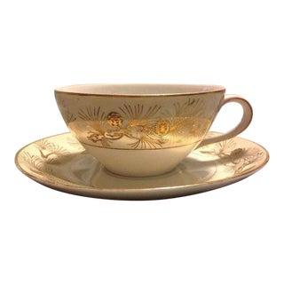 Vintage Kyoto Pine Gold Tea Cup and Saucer Set