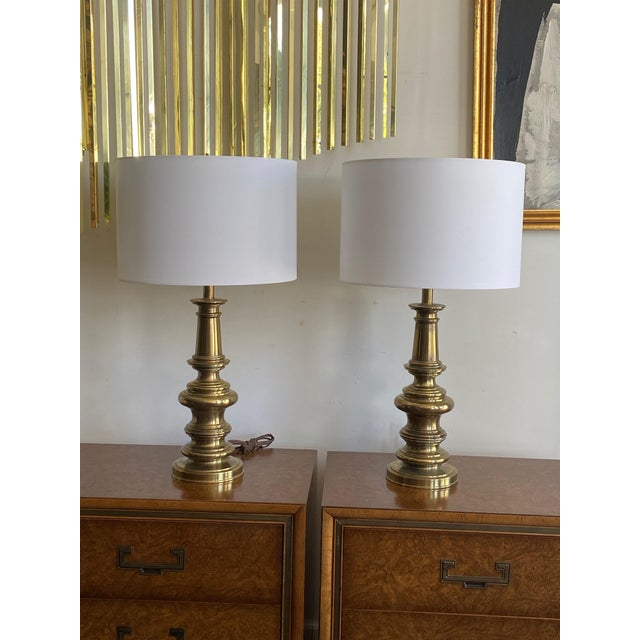 Brass Pair of Stiffel Brass Lamps For Sale - Image 8 of 8