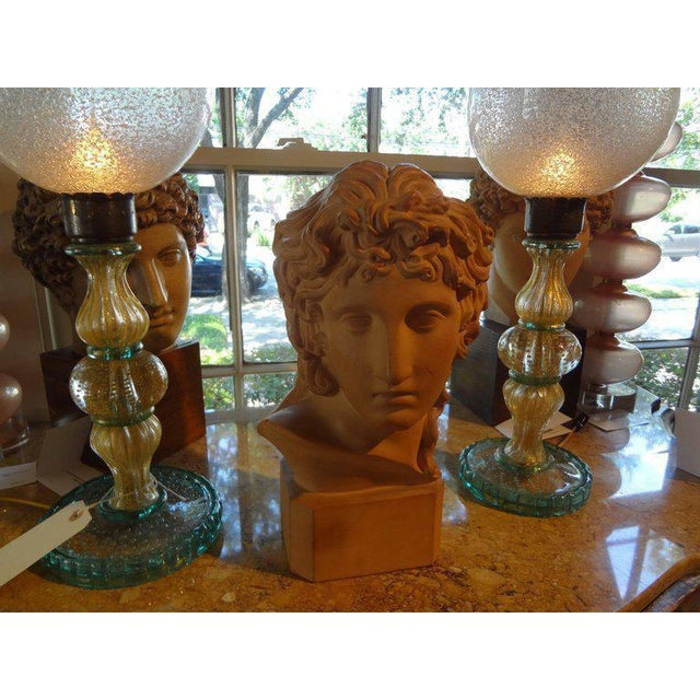 Beautifully detailed French terracotta bust sculpture of a classical Greek. The piece is signed R. D'Arly, Paris, circa 1920.