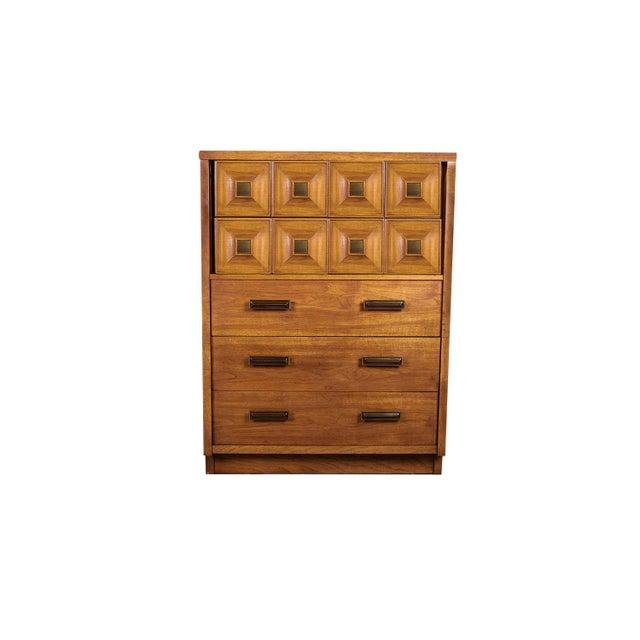 Mid Century Lane Furniture Five Drawer Tall Highboy Dresser For Sale - Image 11 of 11