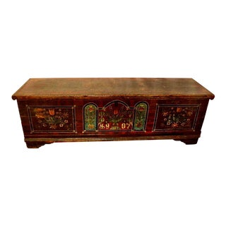 19th Century Traditional Painted Wood Blanket Chest