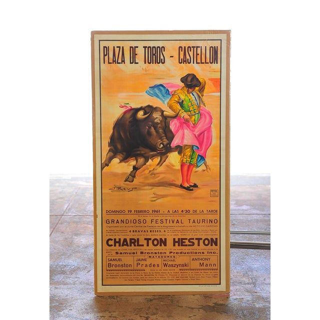 Original 1960s Charlton Heston Vintage Spanish Bullfight Poster. A beautiful piece that will add to your décor!