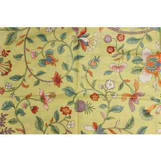 Vintage Porcelain Yellow Glazed Chintz Fabric With Floral Pattern For Sale