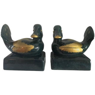 Pair of Italian Ceramic Gump's Duck Bookends