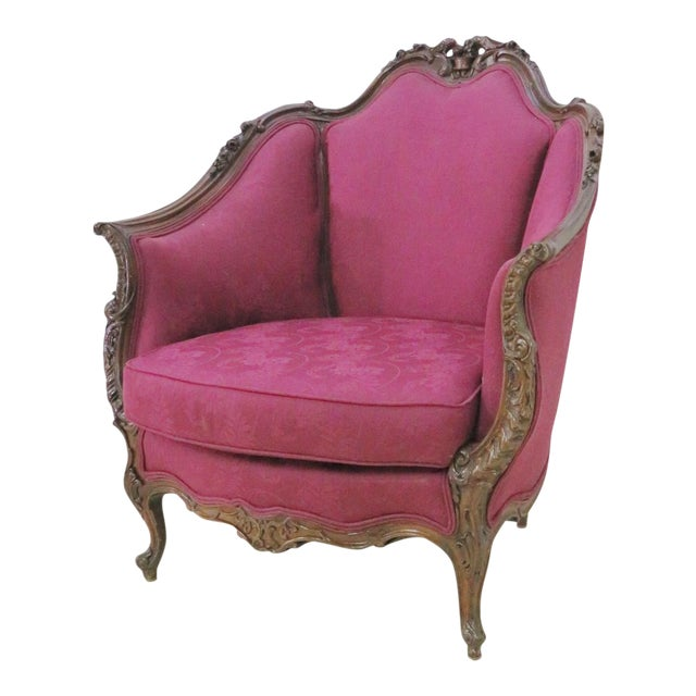 French Walnut Carved Club Chair For Sale