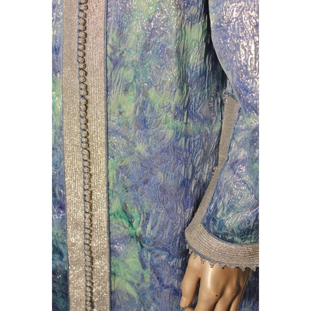 Textile Moroccan Caftan Maxi Dress Brocade Aquamarine Blue and Silver Size M to L For Sale - Image 7 of 11