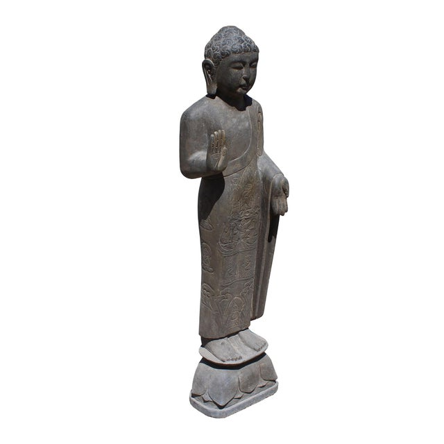 Chinese Gray Stone Carved Standing Abhaya Mudra Buddha Statue For Sale In San Francisco - Image 6 of 7