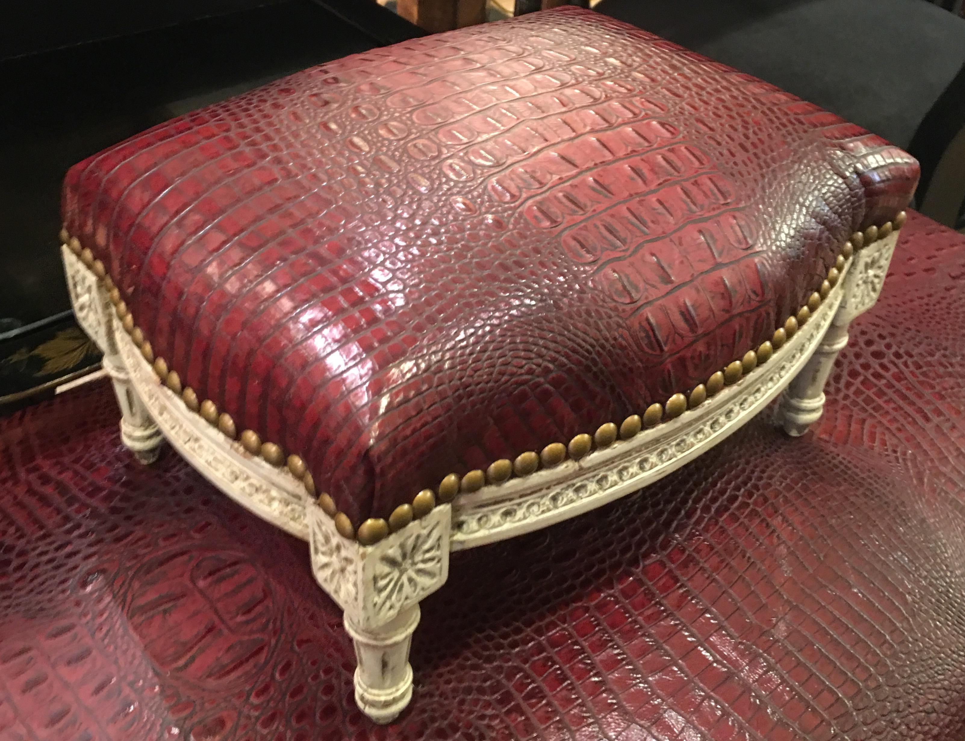 Antique Louis XVI Footstool W Red Alligator Leather   Image 2 Of 5